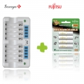Samya Rapid 8 Charger M-800L with Fujitsu Rechargeable AA 2000mah 4pcs- 1Pack Battery